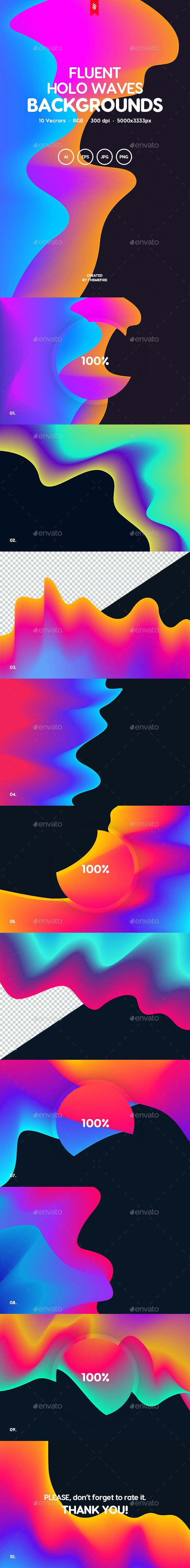 Fluent - Gradient Holographic Waves Backgrounds Pack - Abstract Backgrounds
