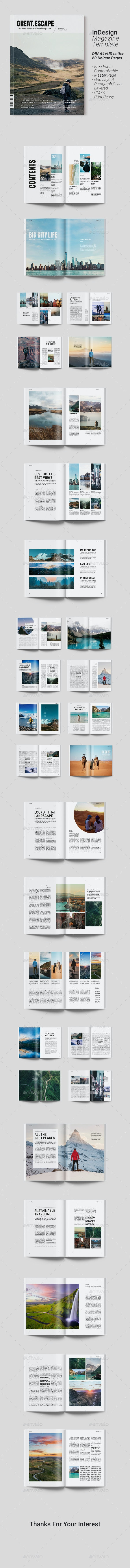 Travel Magazine Template | Great Escape - Magazines Print Templates