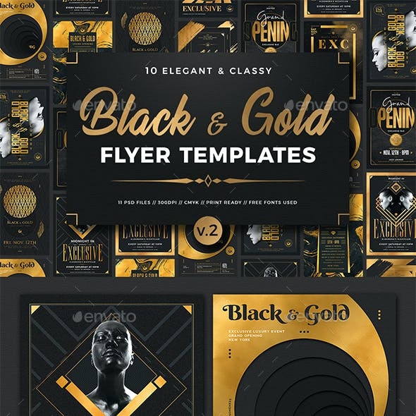 10 Black and Gold Flyers Bundle V2