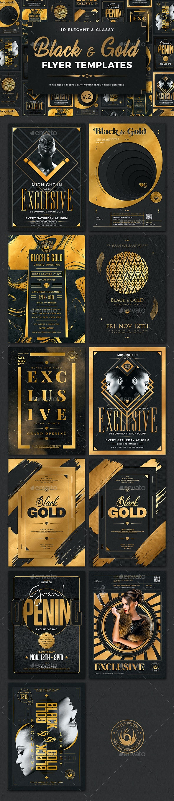 10 Black and Gold Flyers Bundle V2 - Clubs & Parties Events