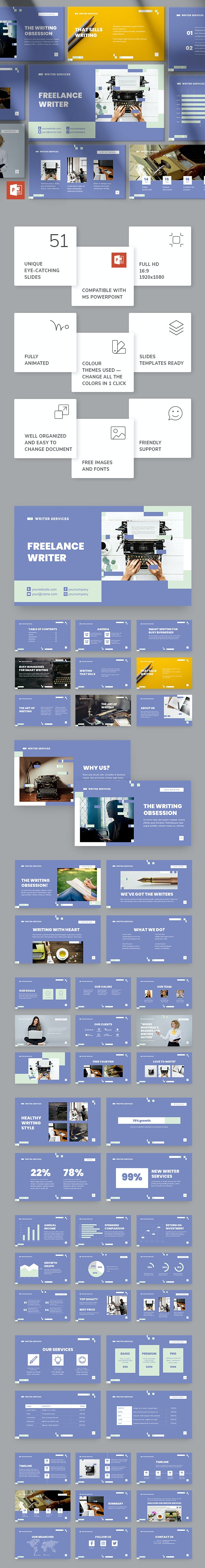 Freelance Writer PowerPoint Presentation Template - Miscellaneous PowerPoint Templates