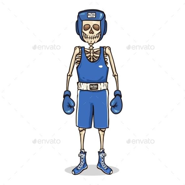 Vector Cartoon Skeleton in Blue Boxing Equipment