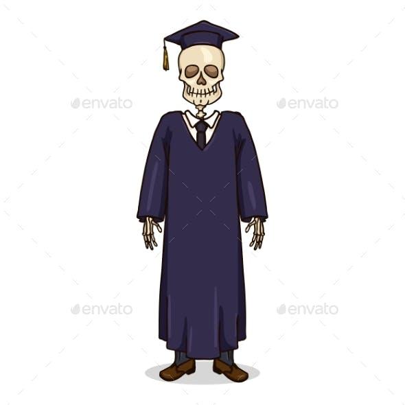 Vector Cartoon Skeleton in Dark Blue Graduation