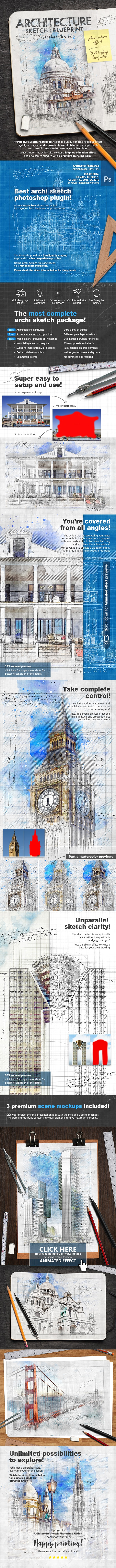 Animated Architecture Sketch and Blueprint Photoshop Action - Photo Effects Actions