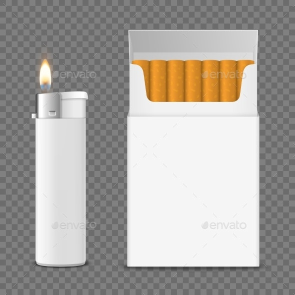 Vector Realistic Closed Clear Blank Cigarette - Food Objects
