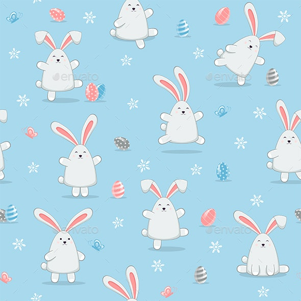 Happy Easter Rabbits on Blue Seamless Background - Animals Characters