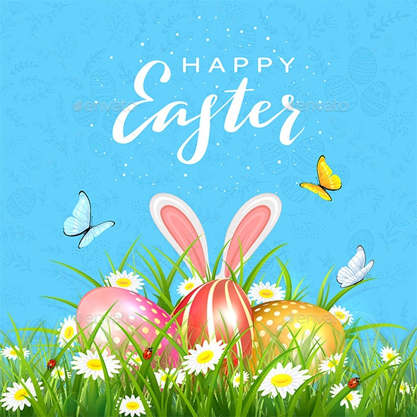 Easter Blue Background with Eggs in Grass and Rabbit Ears - Animals Characters