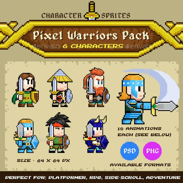 Pixel Warriors - 6 Characters Pack