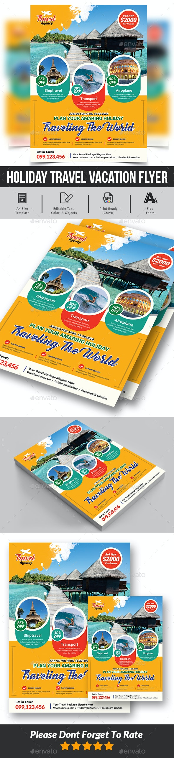 Holiday Travel Vacation Flyer Template - Commerce Flyers