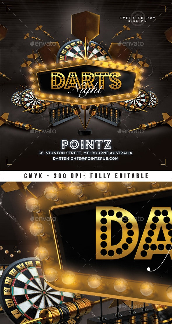 Darts Pub Night Or Darts Club Flyer - Events Flyers