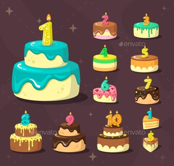 Brilliant Birthday Cakes By Alex Cardo Graphicriver Birthday Cards Printable Trancafe Filternl