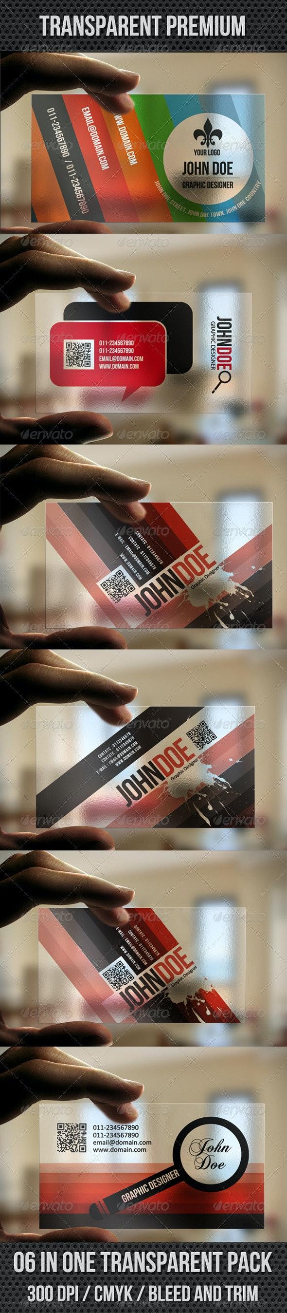 06 In One Transparent Pack - Transparent Premium - Business Cards Print Templates