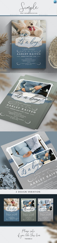 Simple Baby Shower Invitation - Invitations Cards & Invites