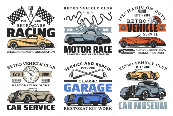 Retro Cars and Spare Parts - Objects Vectors