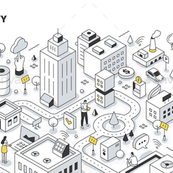 Smart City Isometric Outline Illustration