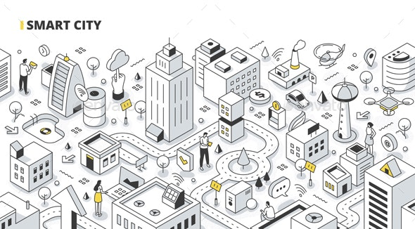 Smart City Isometric Outline Illustration - Communications Technology