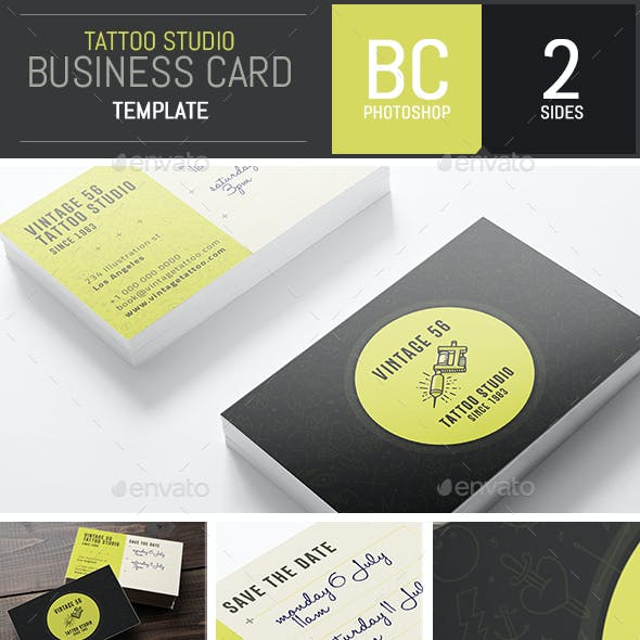 Studio Tattoo Business Card Template - Photoshop