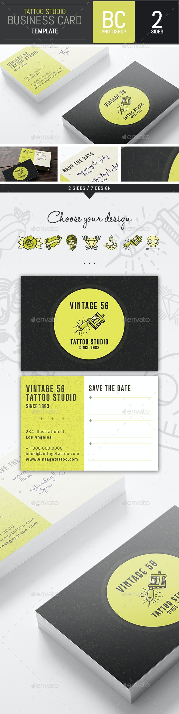 Studio Tattoo Business Card Template - Photoshop - Industry Specific Business Cards