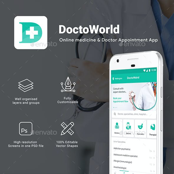 All in One Doctor App with User, Doctor & Delivery App UI Kit | DoctoWorld