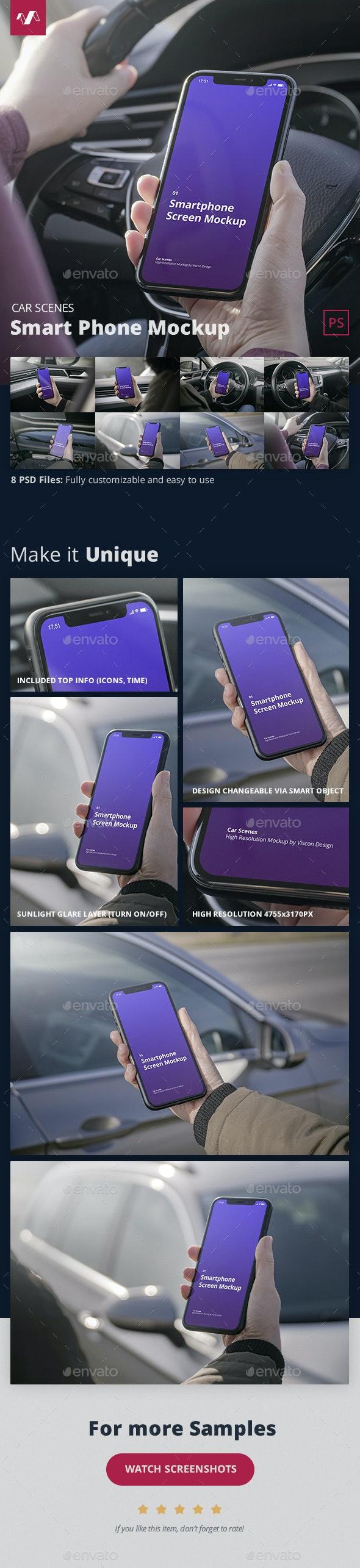 Phone Mockup Car Scenes - Mobile Displays