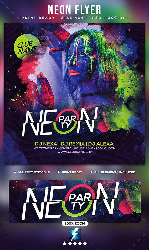 Neon Flyer - Clubs & Parties Events