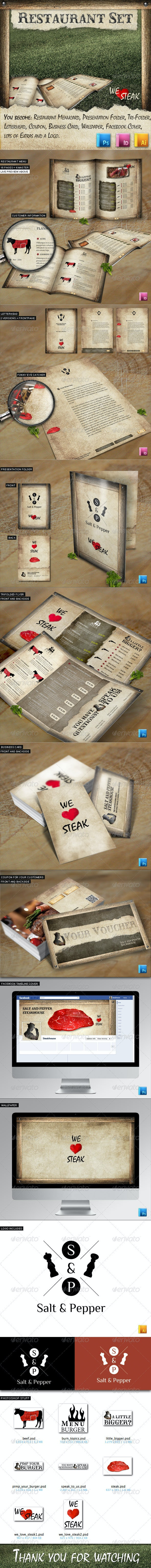 Rustic BBQ Steak House Restaurant Set - Stationery Print Templates