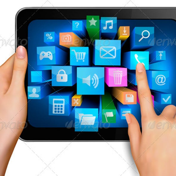 Hand holding touch pad pc and finger touching it s
