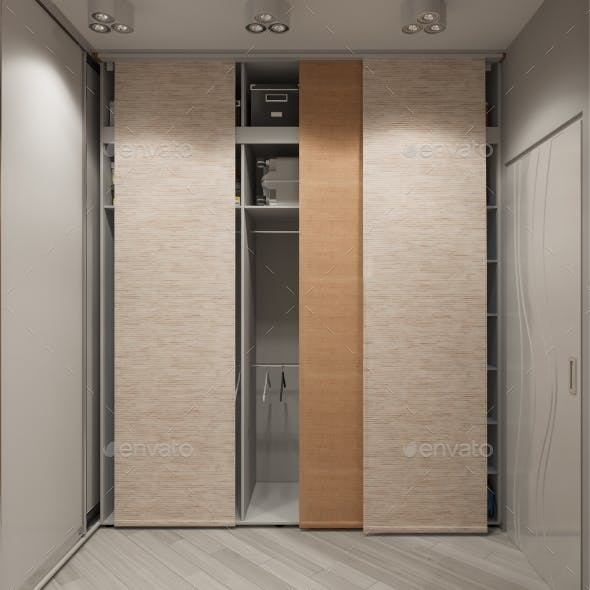 3D Render Interior Design of a Wardrobe in the