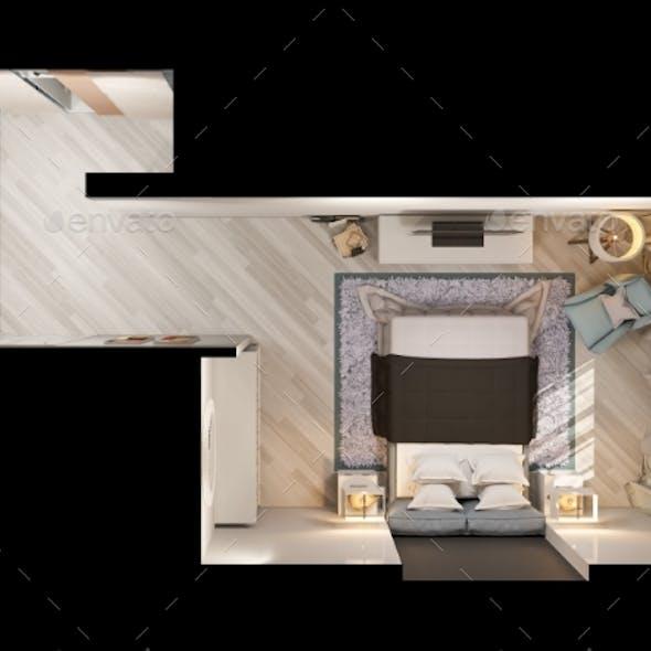 3D Render Interior Design of a Modern Bedroom in
