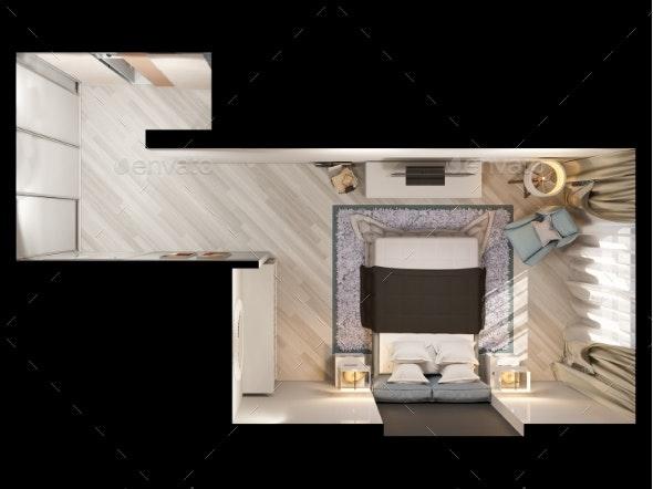 3D Render Interior Design of a Modern Bedroom in - Miscellaneous 3D Renders