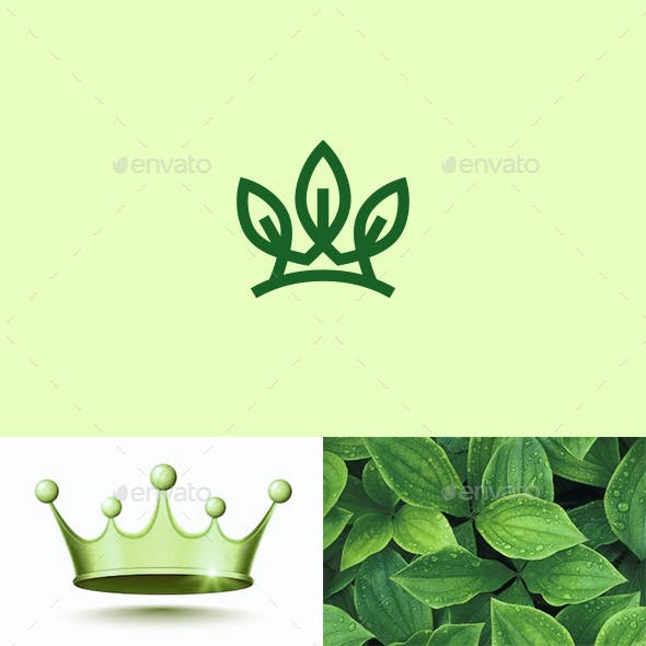 Eco Crown Leaves Logo Nature