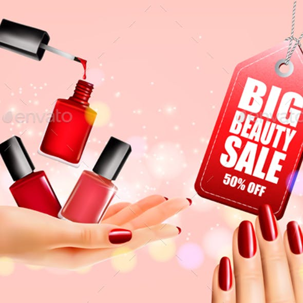 Flyer With Nail Polish Bottles and Manicured Female Hands. Vector.