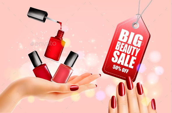 Flyer With Nail Polish Bottles and Manicured Female Hands. Vector. - Retail Commercial / Shopping
