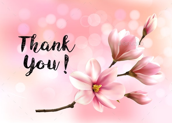Thank You Background with Pink Magnolias Vector - Flowers & Plants Nature