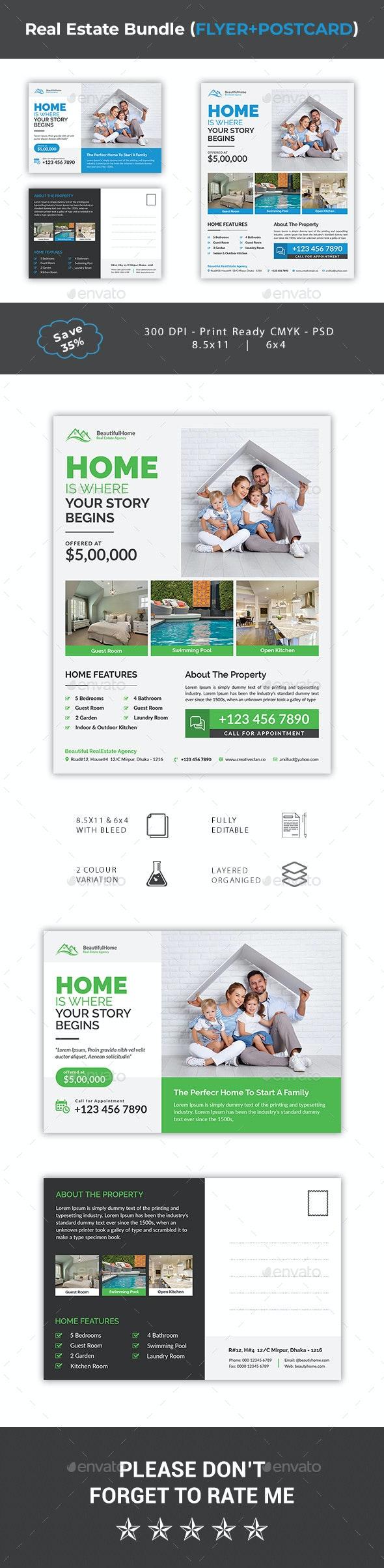 Real Estate Flyer & Post Card Bundle - Corporate Flyers