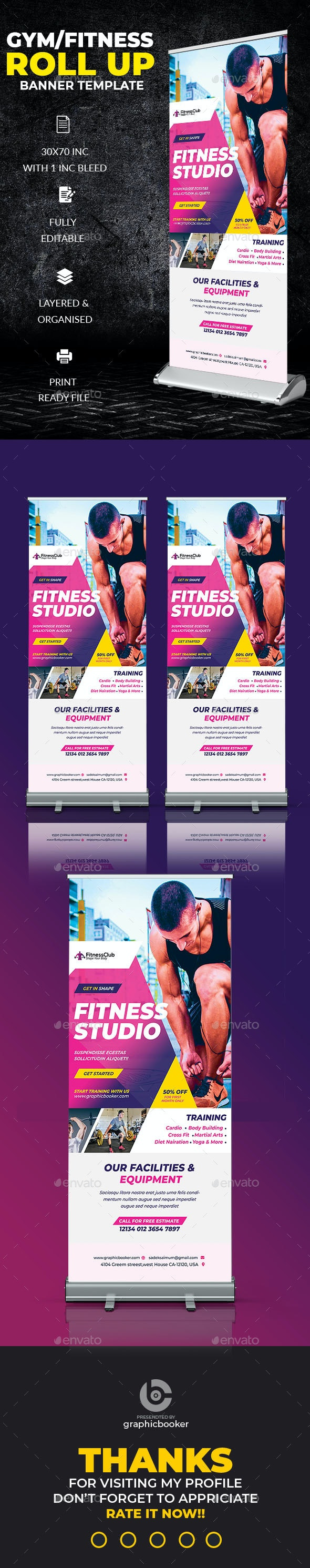 Fitness Roll Up Banner Template - Signage Print Templates