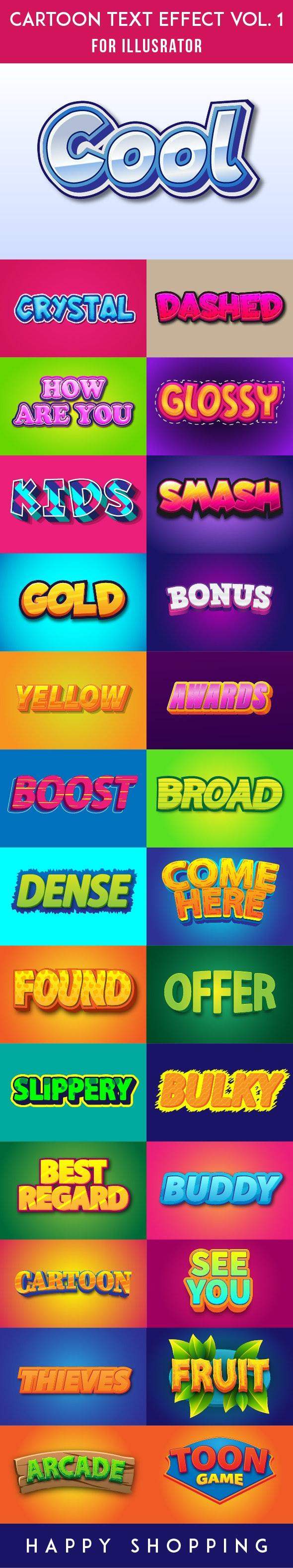 Cartoon Style AI Text Effects - Styles Illustrator