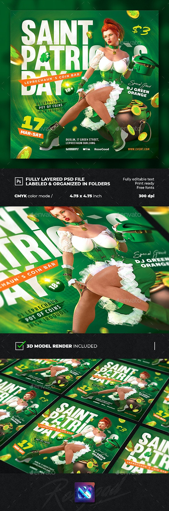 Saint Patrick`s Day Party Flyer vol.2 - Events Flyers