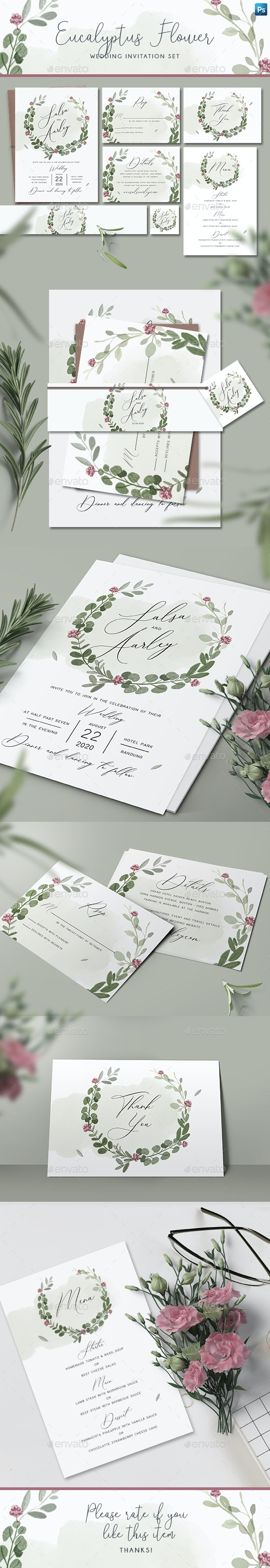Eucalyptus Flower Wedding Invitation Set - Weddings Cards & Invites