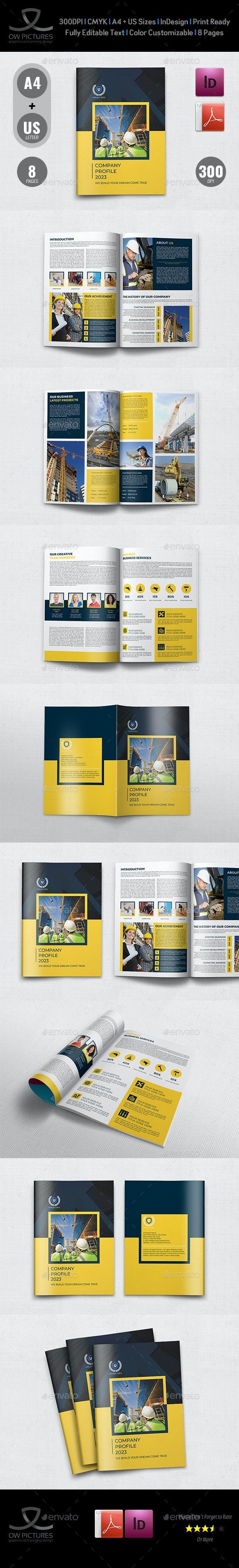 Construction Company Profile Brochure Template - Brochures Print Templates