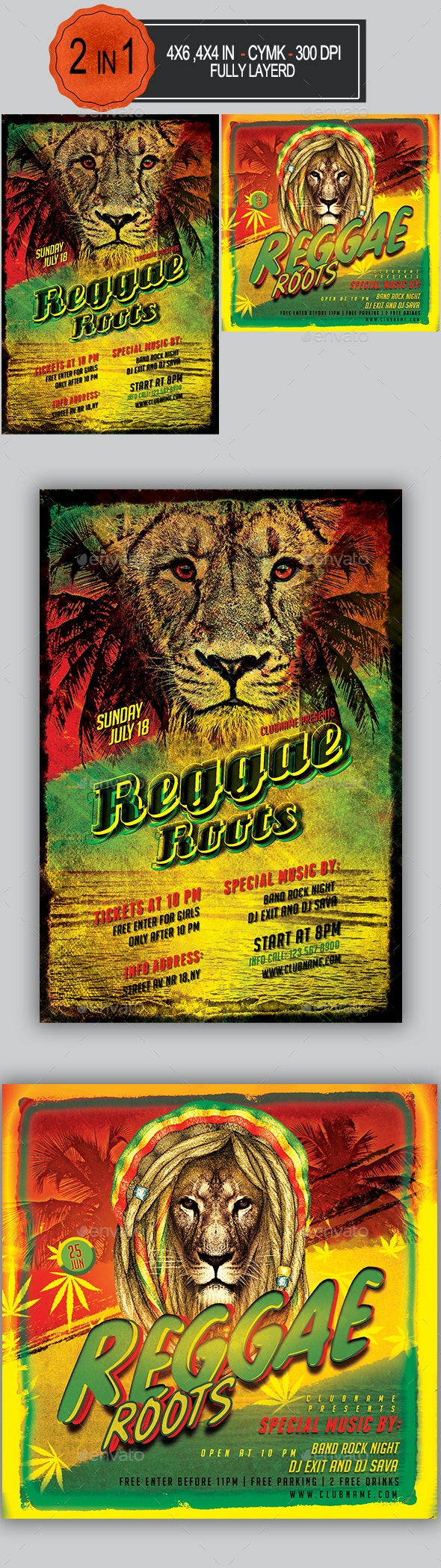 Reggae Roots Flyer Bundle - Clubs & Parties Events