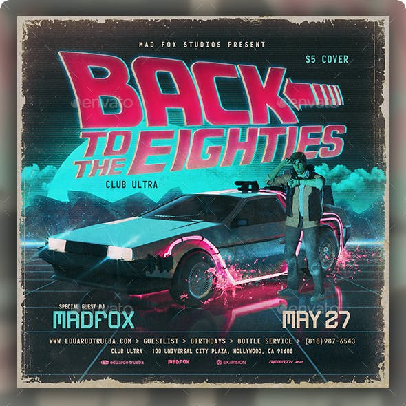 Back to the 80's Party Flyer