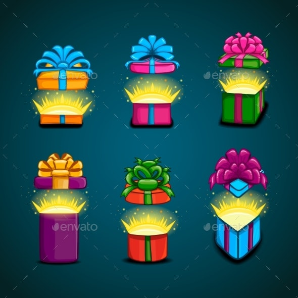 Set with Open Gift Boxes with a Surprise - Miscellaneous Vectors