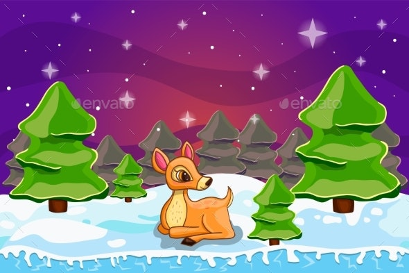 Winter Landscape with Christmas Tree and Deer - Landscapes Nature