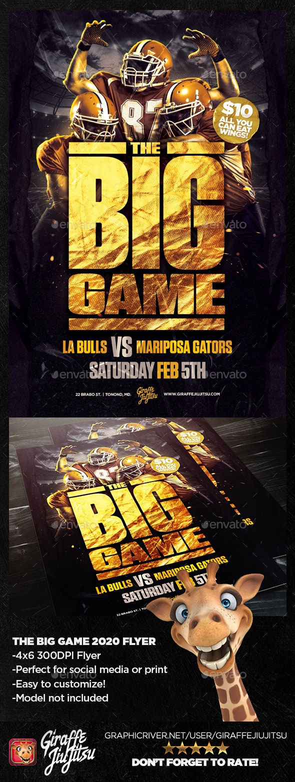The Big Game 2020 Flyer Template - Sports Events