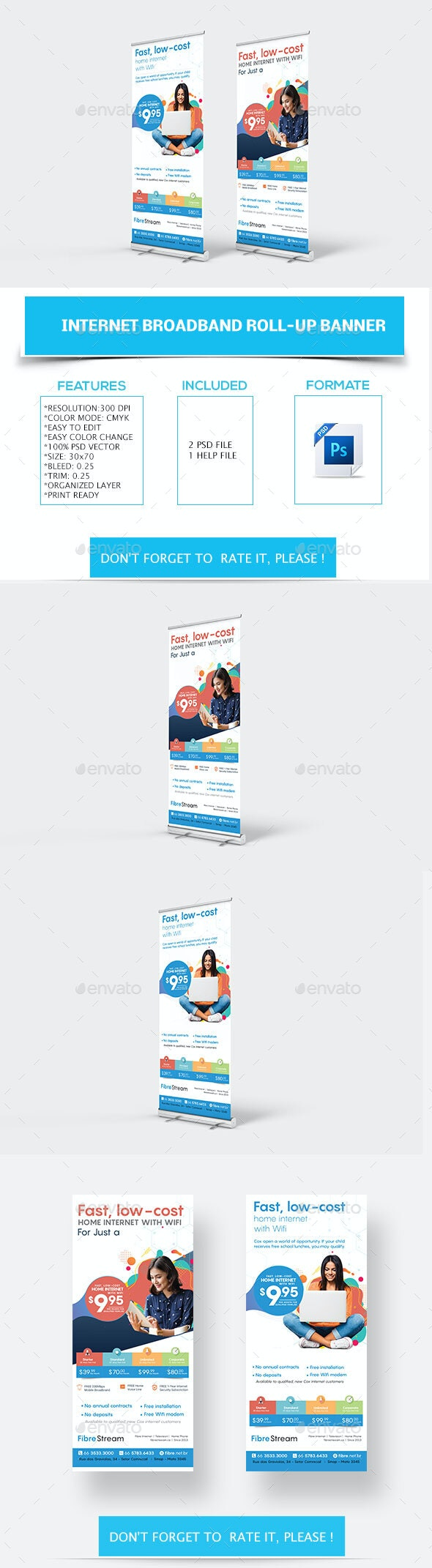 Internet Broadband Promotion Roll-up Banner - Signage Print Templates