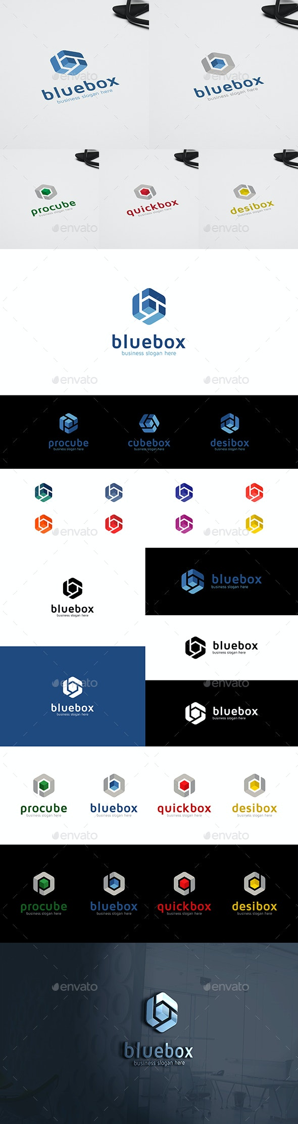 Blue Box Cube and Letter B in Hexagon Form Multipurpose Logo - Vector Abstract