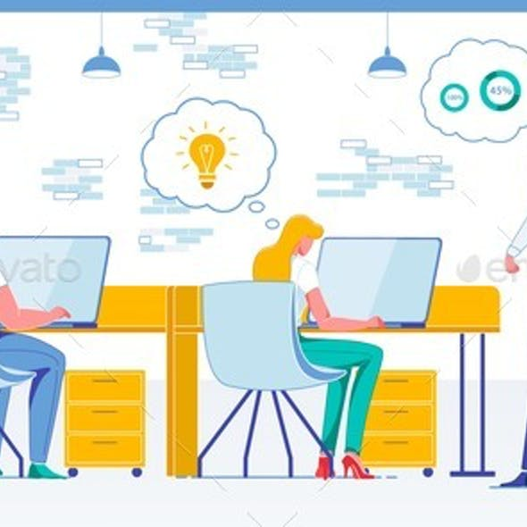 Firm Staff Productivity Flat Vector Illustration