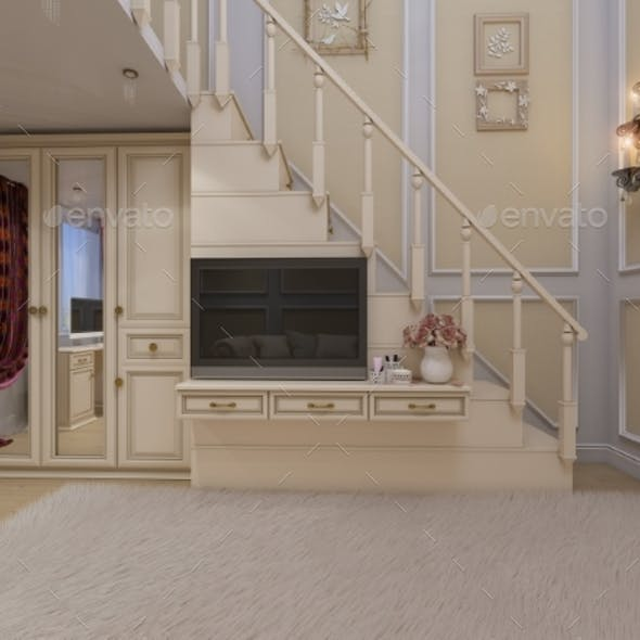 3d Render of Interior Design of a Girls Bedroom in
