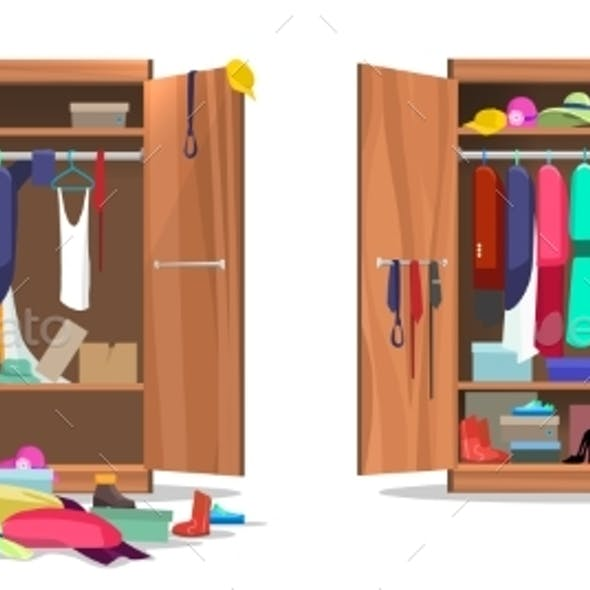 Wardrobe Before and After Organization